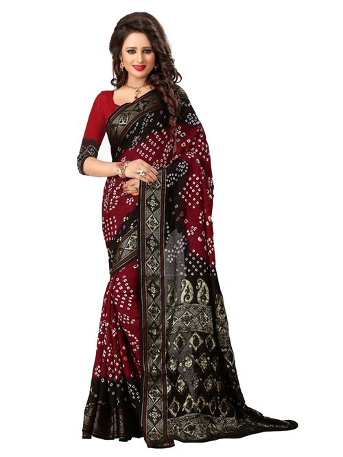 Maroon Color Printed bandhni Bhagalpuri saree