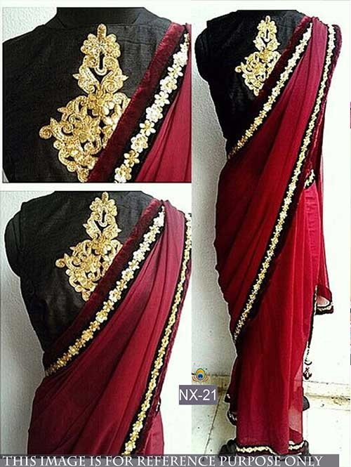 Maroon Colored Beautiful Georgette Saree With Embroidered Blouse