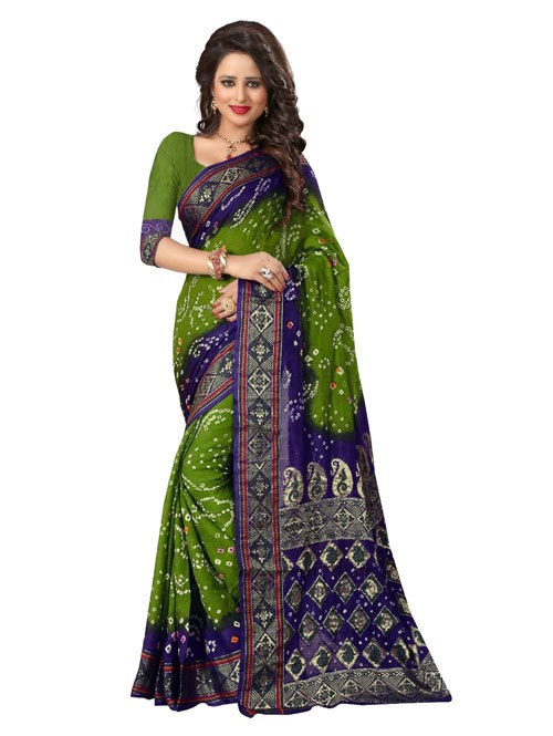Mehandi Color Printed bandhni Bhagalpuri saree