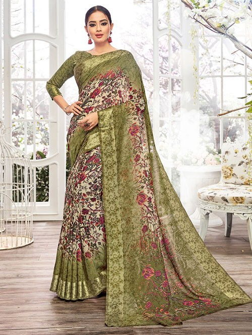 Mehendi Colored Beautiful Linen Cotton Saree With Authentic Handloom Art Prints Based On Mastered Art Of Weaving Fabrics