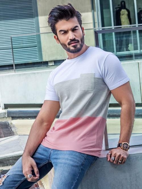 Men White & Pista Colour blocked Cotton T-shirt