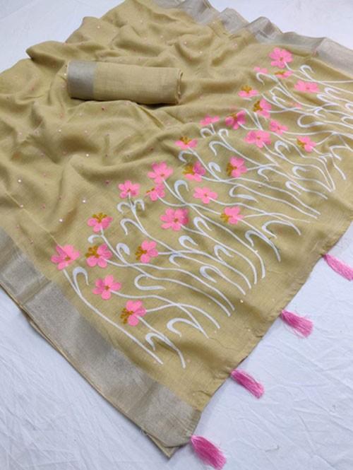 Mhendi Colored Beautiful Embroidered Linen Saree With Mirror Work - Naisha