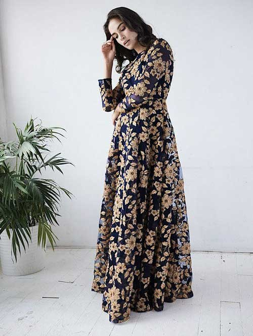 Midnight Blue And Gold Colored Ribin, Badla and Glitter Sequins embroidery Worked Flare Style Gown