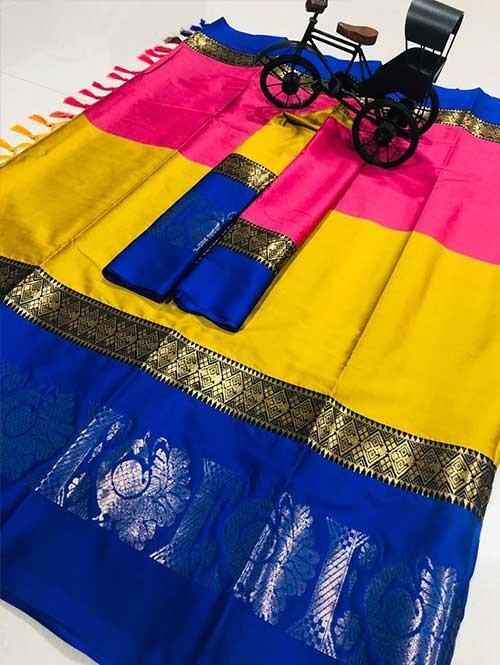 Muti Color Beautiful Weaving Cotton Silk Saree - Aff