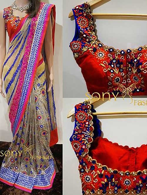 Multi Colored Beautiful 60 Gm Georgette Saree