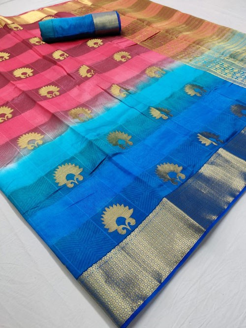 Multi Colored Beautiful Branded Soft Weaving Silk Saree - Silk India