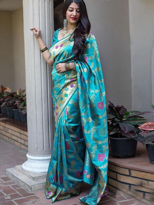 b2a33e91f69ab Multi Colored Beautiful Branded Weaving Silk Saree - Midhusha ...