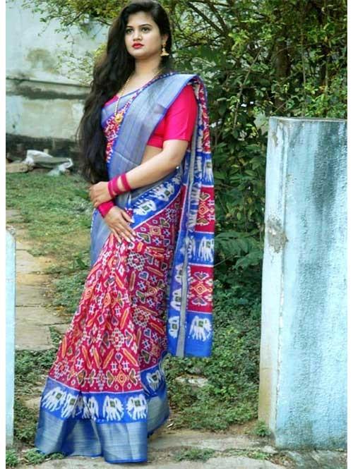 Multi Colored Beautiful Cotton With beautiful Ikat Prints Sarees