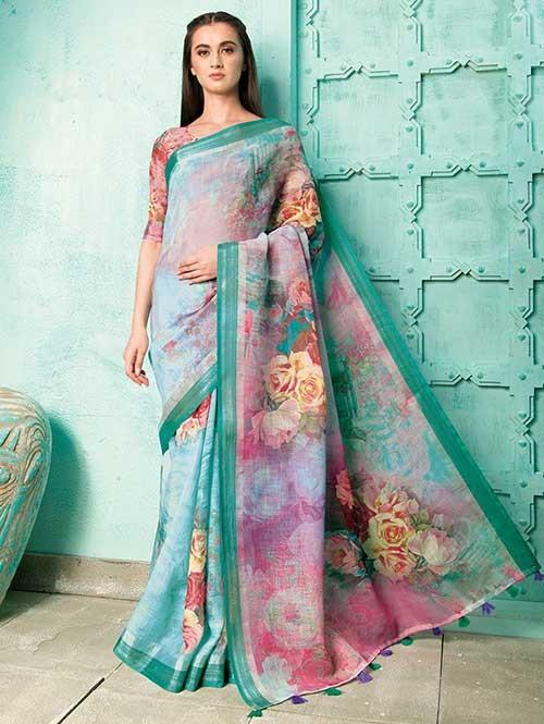 Multi Colored Beautiful Digital Printed Pure Linen Saree - Neisha