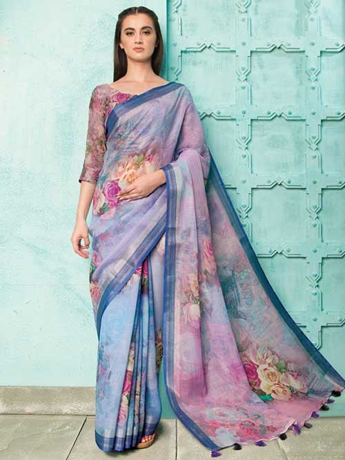 Multi Colored Beautiful Digital Printed Pure Linen Saree - Neisha