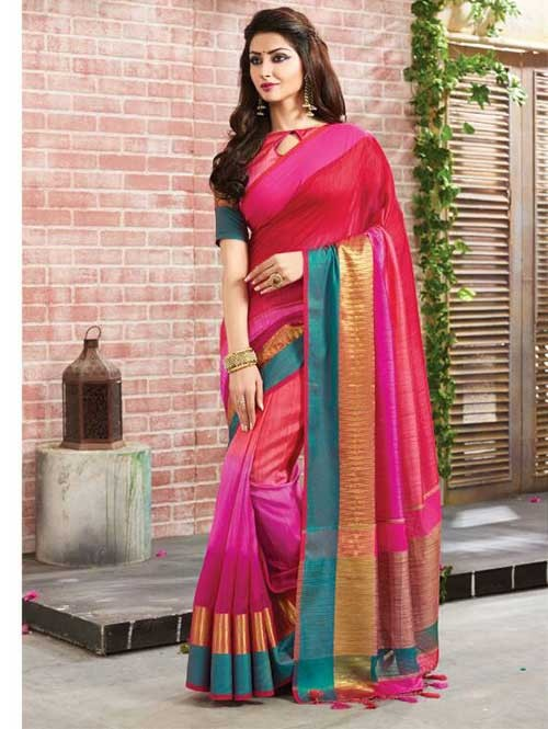 Multi Colored Beautiful Embroidered Cotton Saree With Matching Blouse