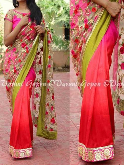 Multi Colored Beautiful Embroidered Georgette and Nylon Net Saree