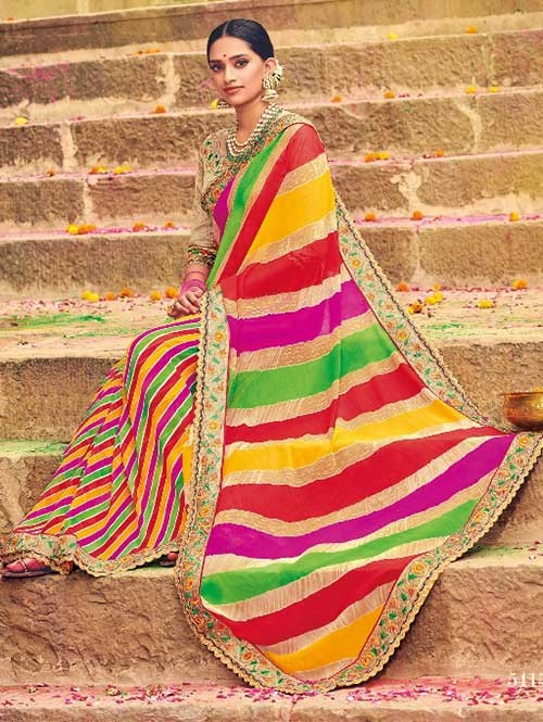 Multi Colored Beautiful Embroidered Georgette Leheriyaa Pattern Printed Saree
