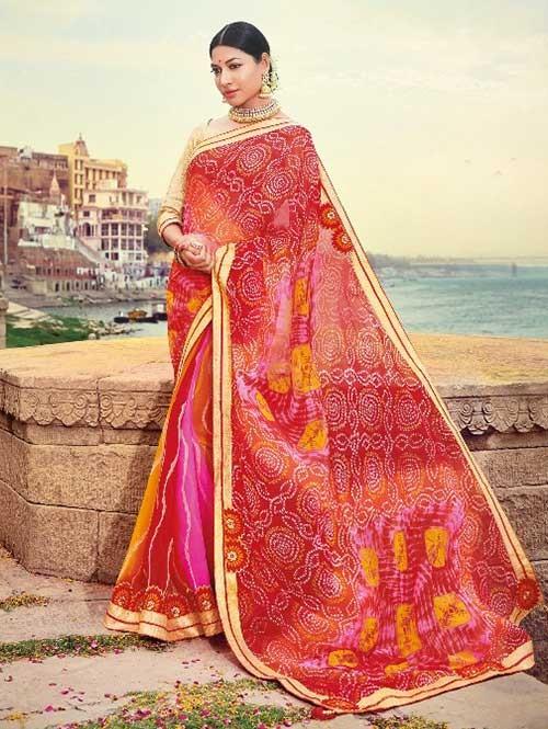Multi Colored Beautiful Embroidered Georgette Leheriyaa Pattern Printed Saree