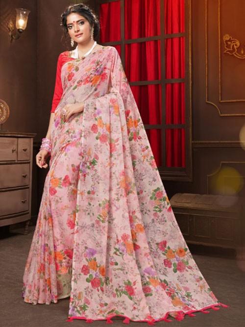 Multi Colored Beautiful Floral Printed Tabby Silk Saree with Taseels - Manuhaar