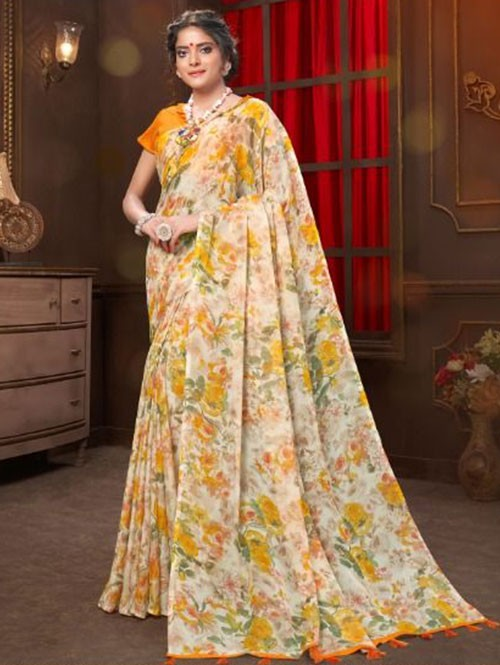 Multi Colored Beautiful Floral Printed Tabby Silk Saree with Taseels - Manuhaar