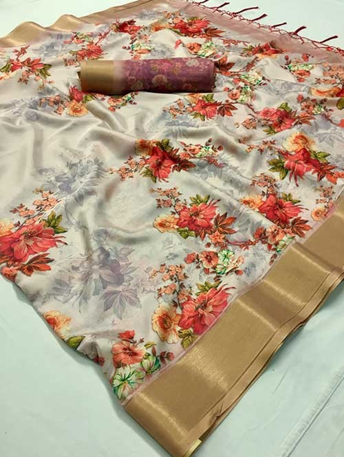 Multi Colored Beautiful Floral Pritned Soft Silk Party Wear Saree Online