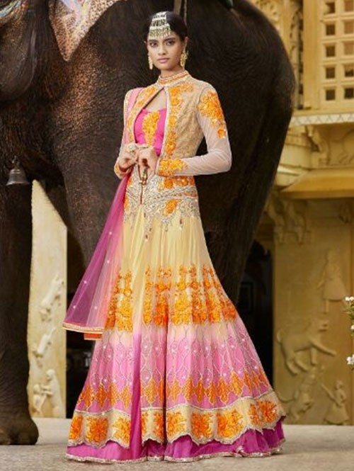 Multi Colored Beautiful Heavy Embroidered Butterfly Net and Crepe With Kandola Lehenga Choli