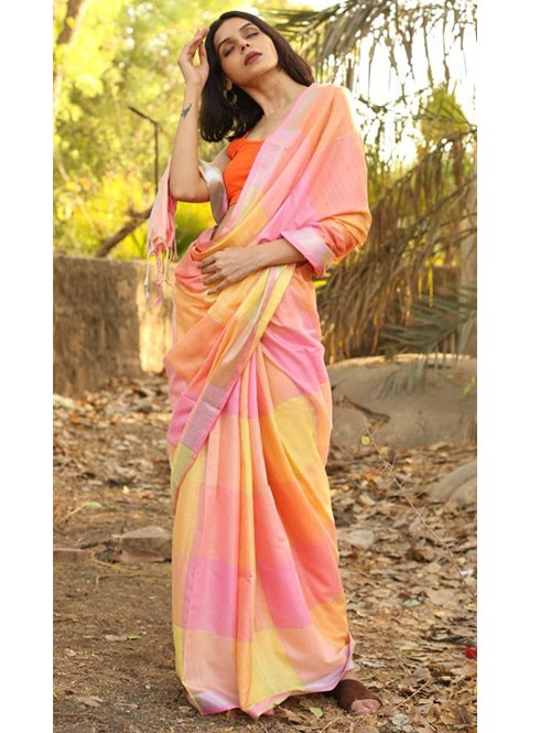 Multi Colored Beautiful Linen With Running Blouse