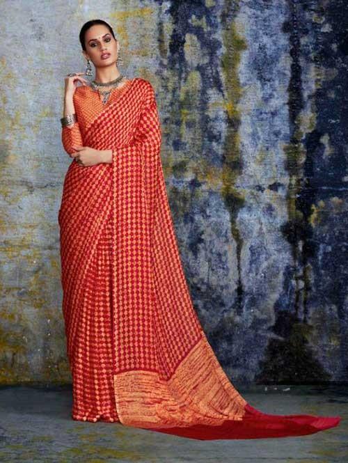 Multi Colored beautiful Negative Printed Pure Moss Fabric Saree