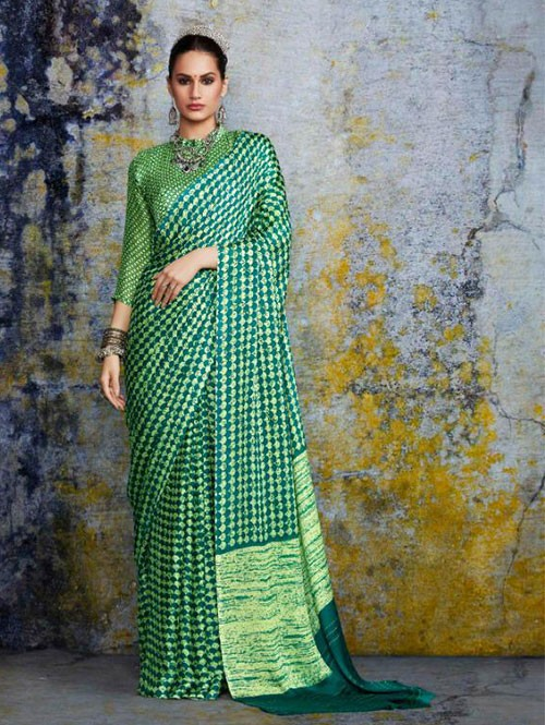 Multi Colored beautiful Negative Printed Pure Moss Fabric Saree