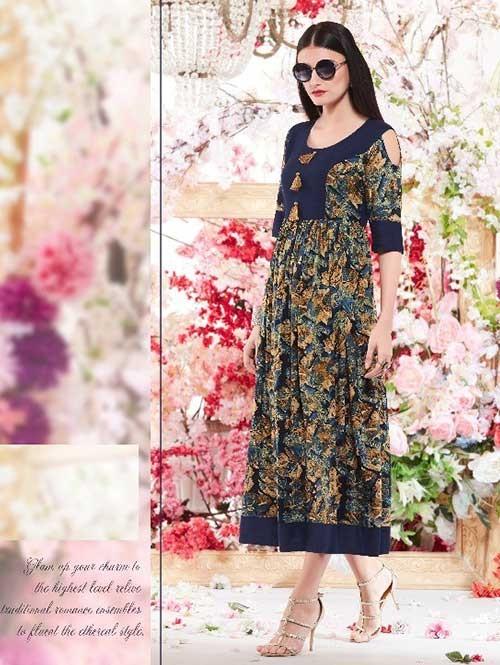 Multi Colored Beautiful Printed A-Line Rayon Kurti