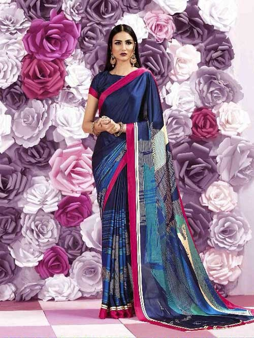 Multi Colored Beautiful Printed Crepe Saree