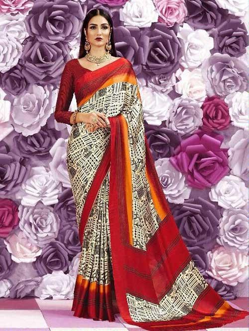 Multi Colored Beautiful Printed Crepe Saree