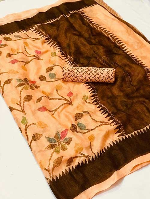 Multi Colored Beautiful Printed Linen Saree