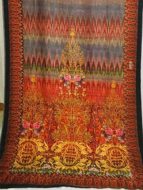 Multi Colored Beautiful Printed Linen Saree