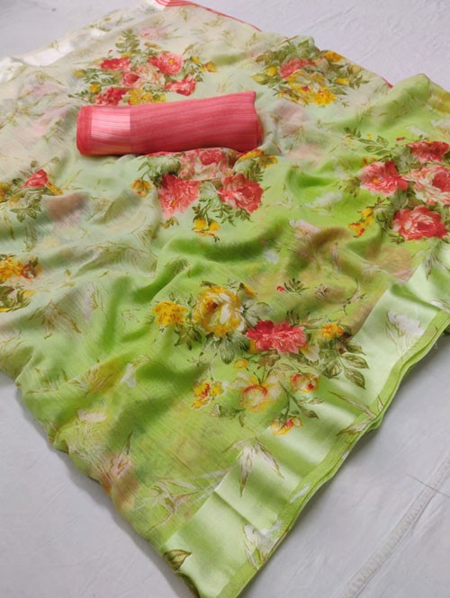 Multi Colored Beautiful Printed Linen Saree - Orchid