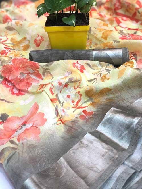 Multi Colored Beautiful Printed Linen Saree with Satin Patta