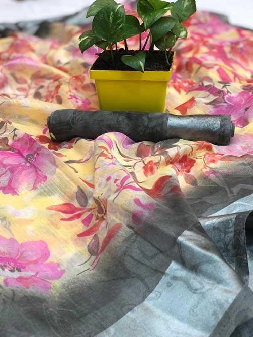Multi Colored Beautiful Printed Linen Saree with Satin Patta.