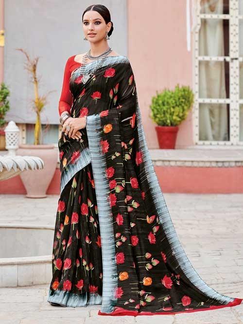 Multi Colored Beautiful Printed Linen Saree with Satin Patta - Saffro