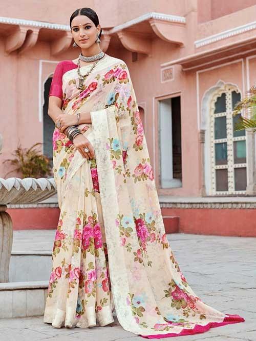 Multi Colored Beautiful Printed Linen Saree with Satin Patta - Saffron