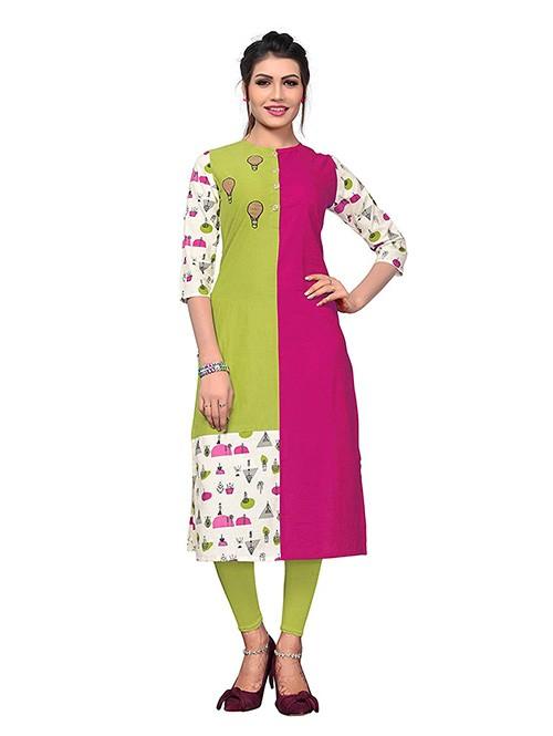Multi Colored Beautiful Printed Straight Cotton Kurti.