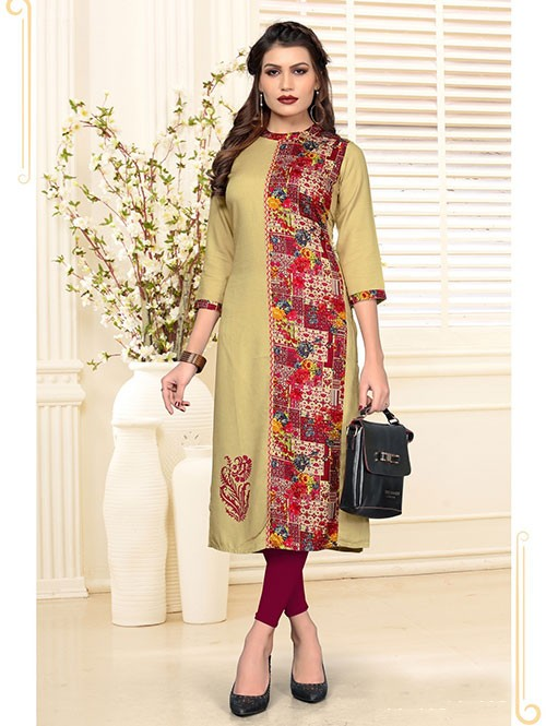Multi Colored Beautiful Printed Straight Rayon Kurti