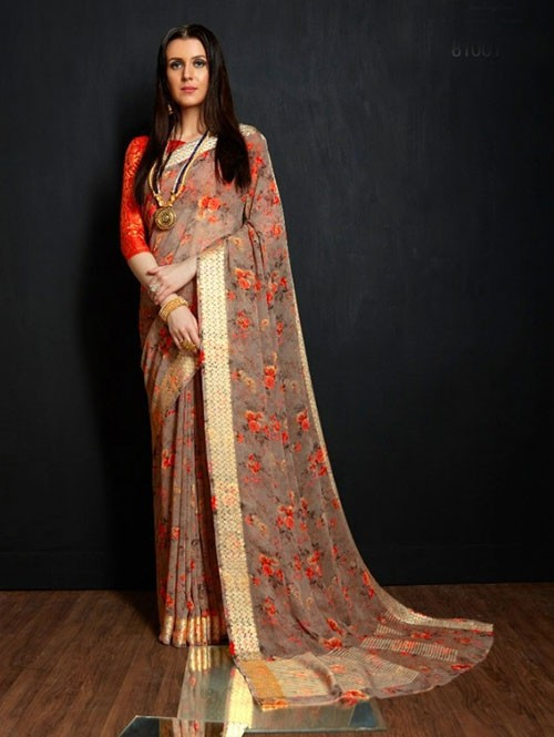Multi Colored Beautiful Printed Viscose Saree with Nylon Brocade Blouse - Karwaah