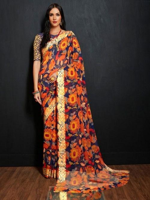 Multi Colored Beautiful Printed Viscose Saree with Nylon Brocade Blouse - Karwaah