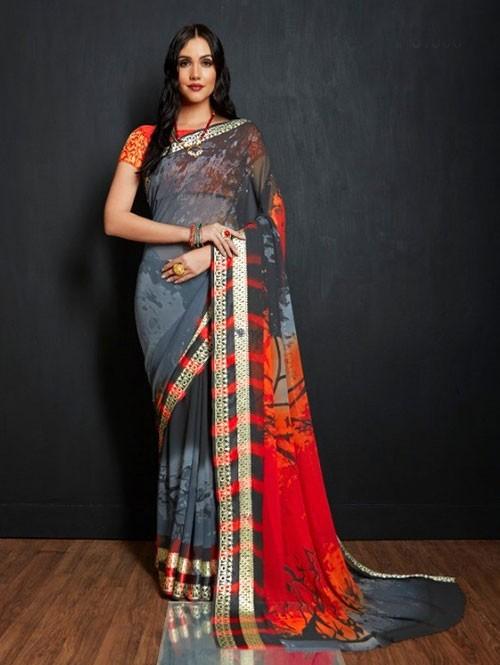 Multi Colored Beautiful Printed Viscose Saree with Nylon Brocade Blouse - Karwaa