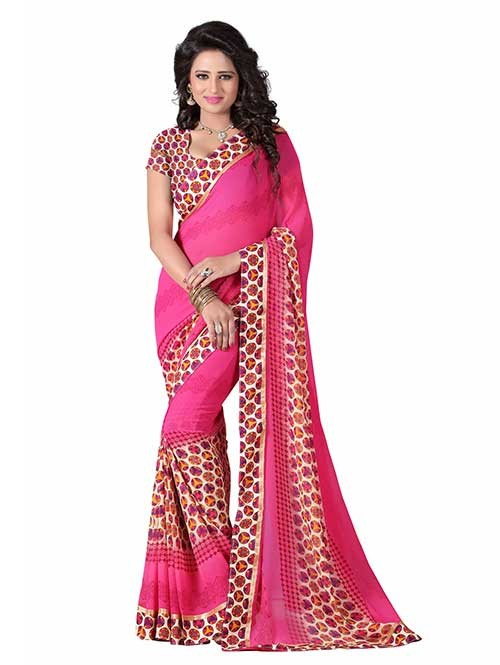 Multi Colored Beautiful Printed Weightless Saree