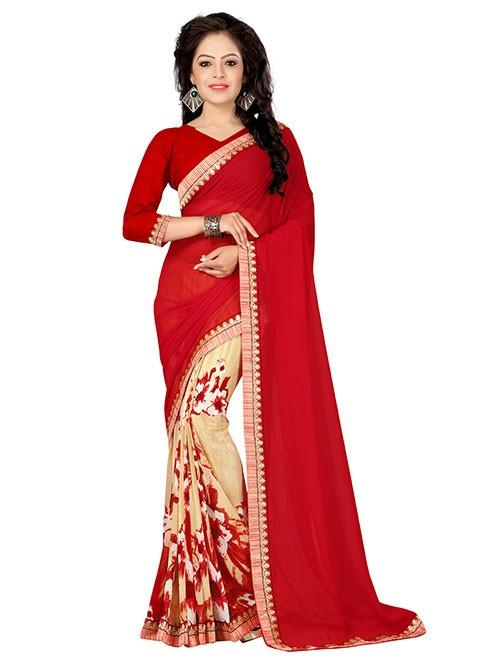 Multi Colored Beautiful Printed Weightless Saree