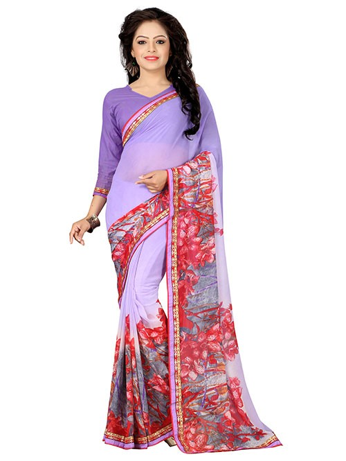 Multi Colored Beautiful Printed Weightless Saree (