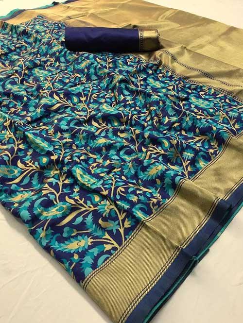 Multi Colored Beautiful Soft Silk Fancy Saree on Sale