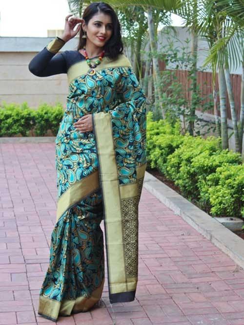 Multi Colored Beautiful Soft Silk Traditional Saree Online - Keshar