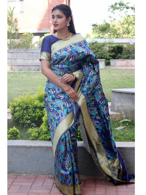 Multi Colored Beautiful Soft Silk Traditional Saree Online - Keshar