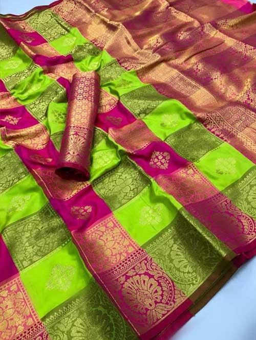 Multi Colored Beautiful Soft Silk Traditional Zari Weaving Saree