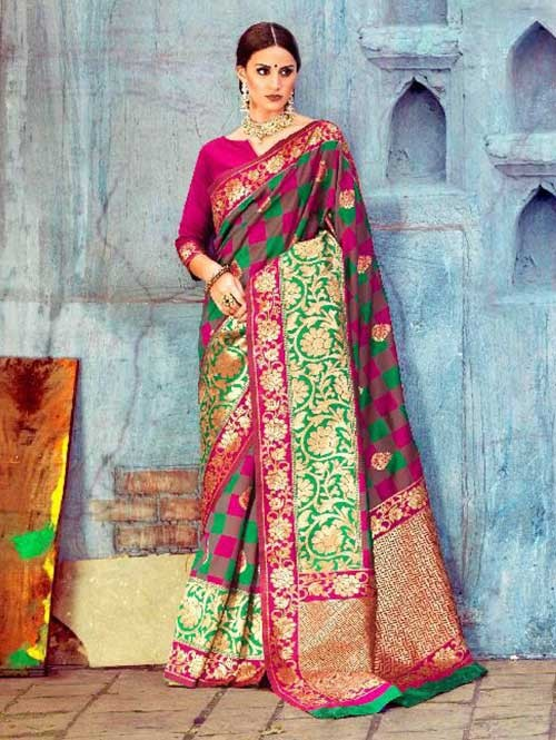 Multi Colored Beautiful Waving Silk Saree