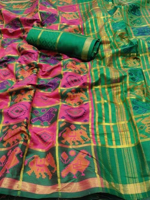 Multi Colored Beautiful Weaving Silk Saree - Patola
