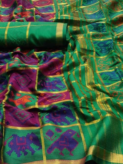 Multi Colored Beautiful Weaving Silk Saree - Patola